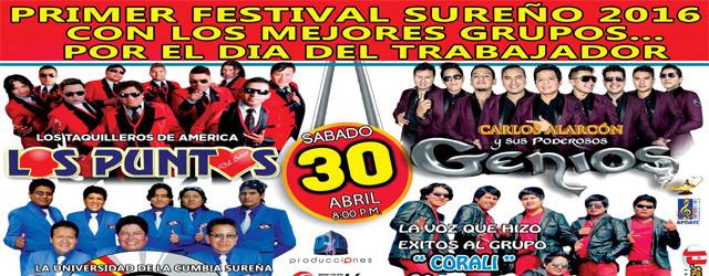 PRIMER FESTIVAL DE LA CUMBIA SUREÑA 30 DE ABRIL COLISEO PUNO