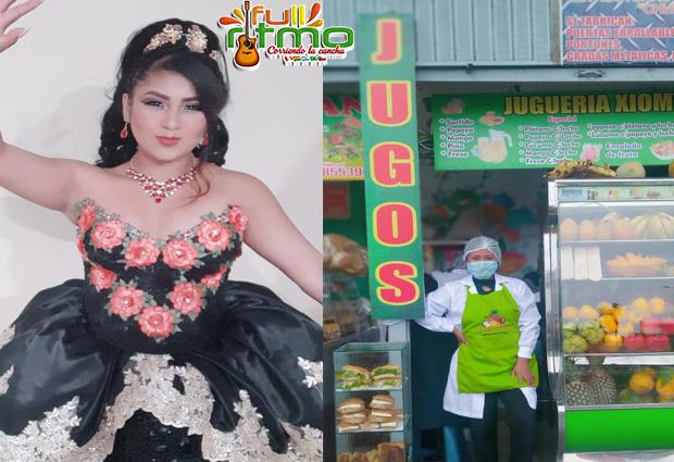 vende jugo para  realizar su show virtual, XIOMARA CALIZAYA